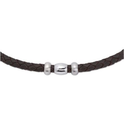 Mens Unique & Co Stainless Steel Black Leather Necklace K48BL/50CM