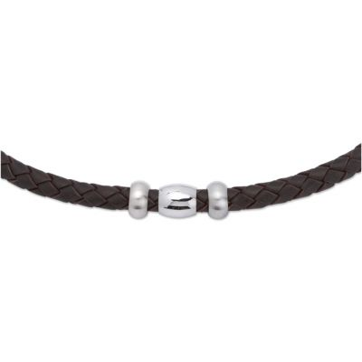 Mens Unique & Co Stainless Steel Darkbrown Leather Necklace K48DB/50CM