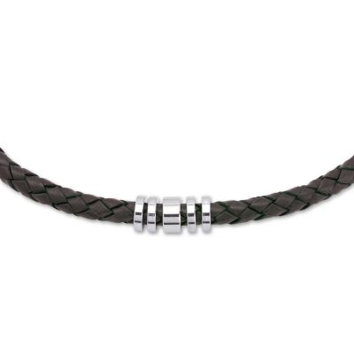 Mens Unique & Co Stainless Steel Dark Brown Leather Necklace K49DB/50CM