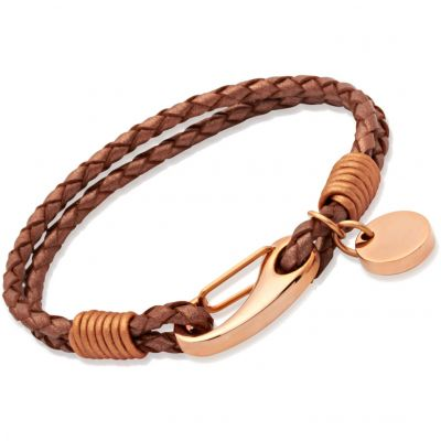 Unique Dames Copper Leather Bracelet PVD verguld Rose B64CO/19CM