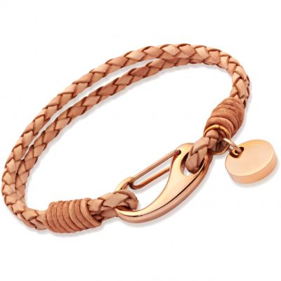 Unique Dames Natural Leather Bracelet PVD verguld Rose B64NA/19CM