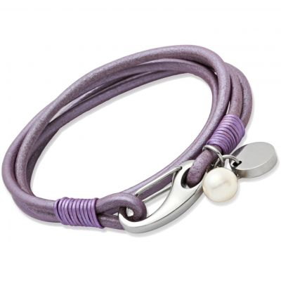 Unique Dam Lilac Leather Bracelet Rostfritt stål B67LY/19CM