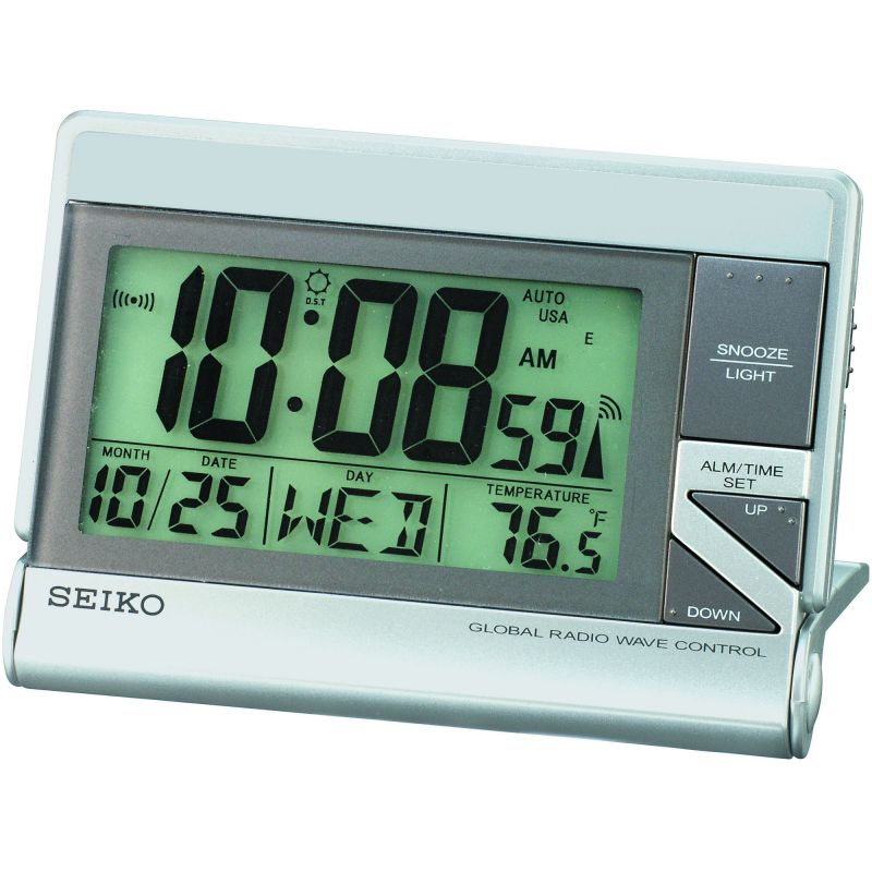 Seiko Clocks Radio Controlled LCD Desk Alarm Clock QHR016S