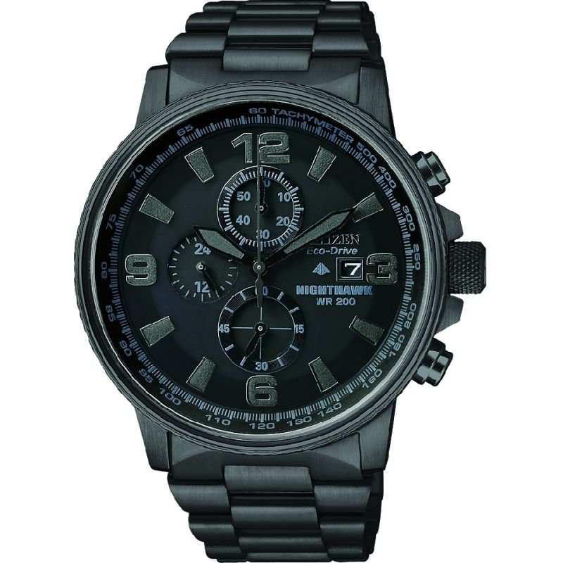 Mens Citizen Eco-drive Nighthawk Chronograph Black Ion-plated Steel Watch CA0295-58E