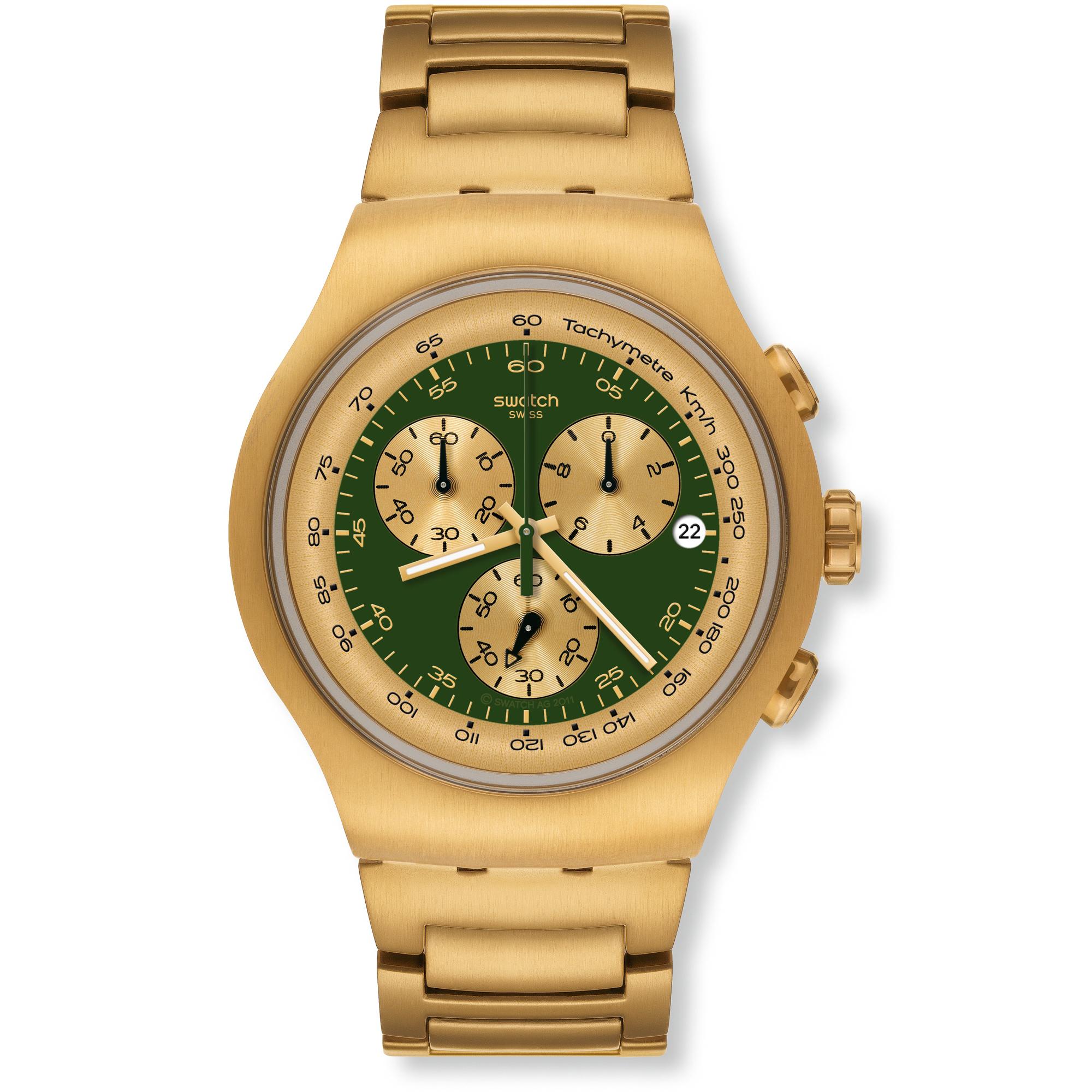 e602a2ef3f7 Gents Swatch Golden Block Green Chronograph Watch (YOG406G ...
