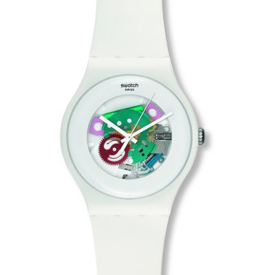 Swatch Originals New Gent White Lacquered Unisexuhr in Weiß SUOW100