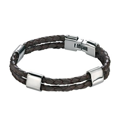 Mens Fred Bennett Stainless Steel Brown Leather Bracelet B3671