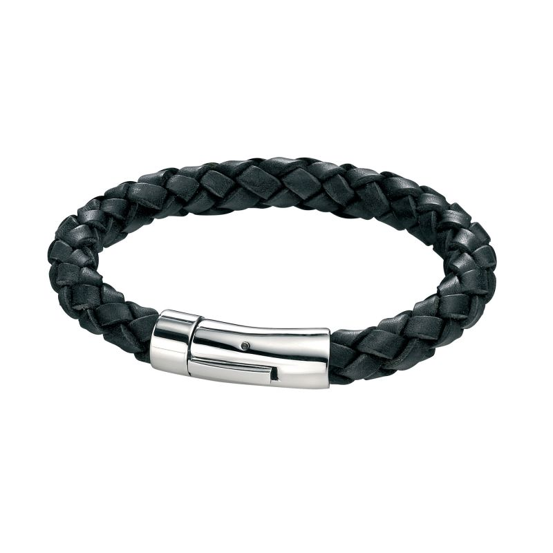 Mens Fred Bennett Stainless Steel Black Leather Braid Bracelet B3672