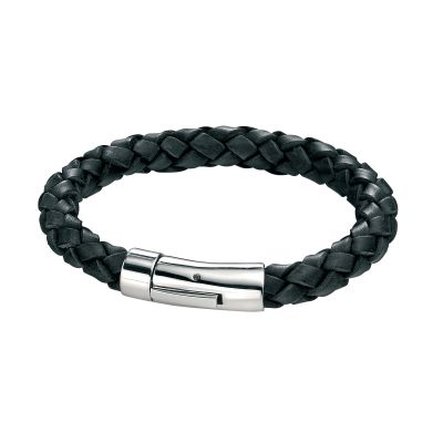 Biżuteria męska Fred Bennett Black Leather Braid Bracelet B3672