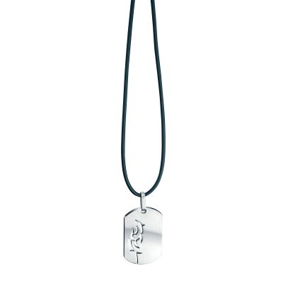 Mens Fred Bennett Stainless Steel Cut Out Tag Pendant P2576
