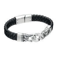 Mens Fred Bennett Stainless Steel Black Enamel Leather 23cm Bracelet B3897