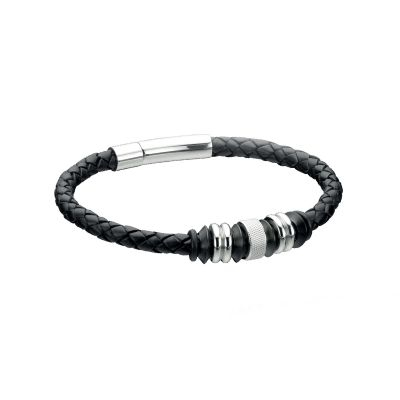 Mens Fred Bennett Stainless Steel Black Leather Disc 21cm Bracelet B3898