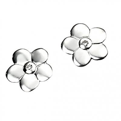 Childrens D For Diamond Sterling Silver DIAMOND Flower Stud EARRING E3504