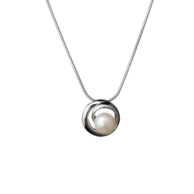 Ladies Jersey Pearl Sterling Silver White Freshwater Pearl Necklace N7