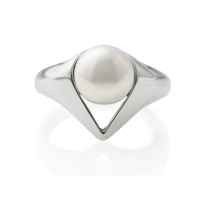 Ladies Jersey Pearl Sterling Silver Twenties Silver Collar Ring Size N TWC-RS-N