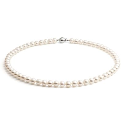 Ladies Jersey Pearl Sterling Silver Classic Pearl Necklace S5S18