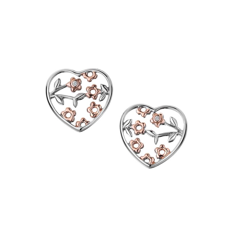 Ladies Hot Diamonds Sterling Silver Shades of Spring 18ct Rose Gold Heart Earrings DE292