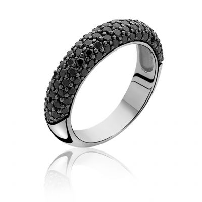 Damen Zinzi Black CZ Ring Size O Sterling-Silber ZIR633