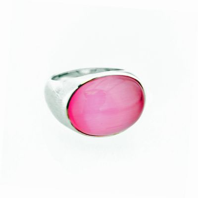 Ladies Zinzi Sterling Silver Size P Pink Cat Eye Ring ZIR672