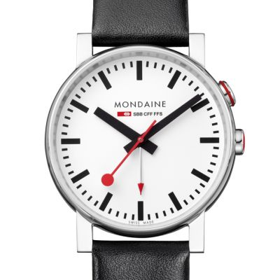 Mondaine Evo Alarm Swiss Railways Herrenuhr in Schwarz A4683035211SBB