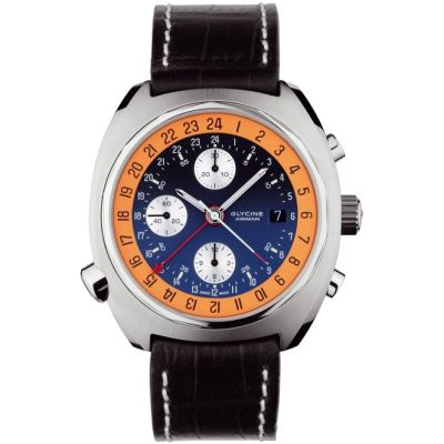 Mens Glycine Airman SST GMT Automatic Chronograph Watch 3902.186-LBN9