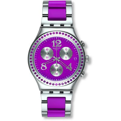 Ladies Swatch Secret Thought Raspberry Chronograph Watch YCS555G