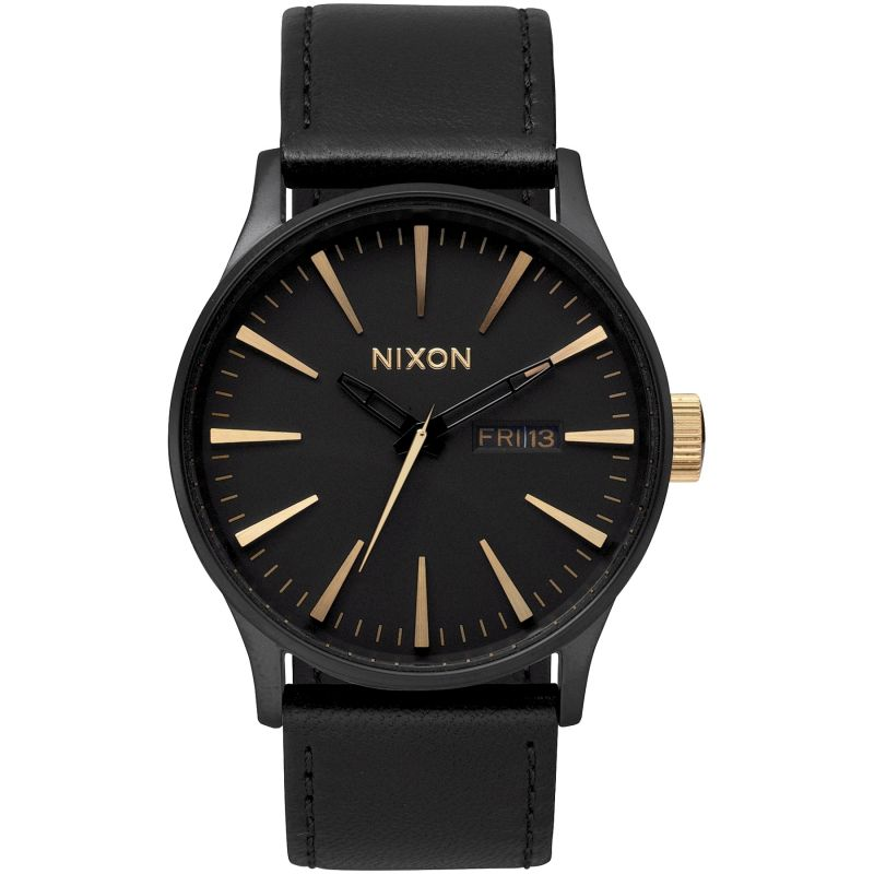 Nixon The Sentry Leather Herrklocka Svart A105-1041