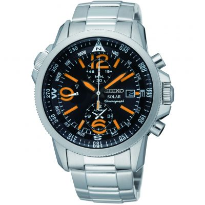 Mens Seiko Alarm Chronograph Solar Powered Watch SSC077P1