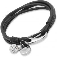 Unique & Co Black Leather Bracelet 19cm JEWEL