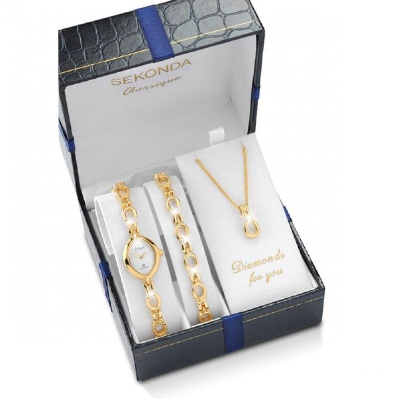 Ladies Sekonda Classique Necklace Bracelet Gift Set Diamond Watch