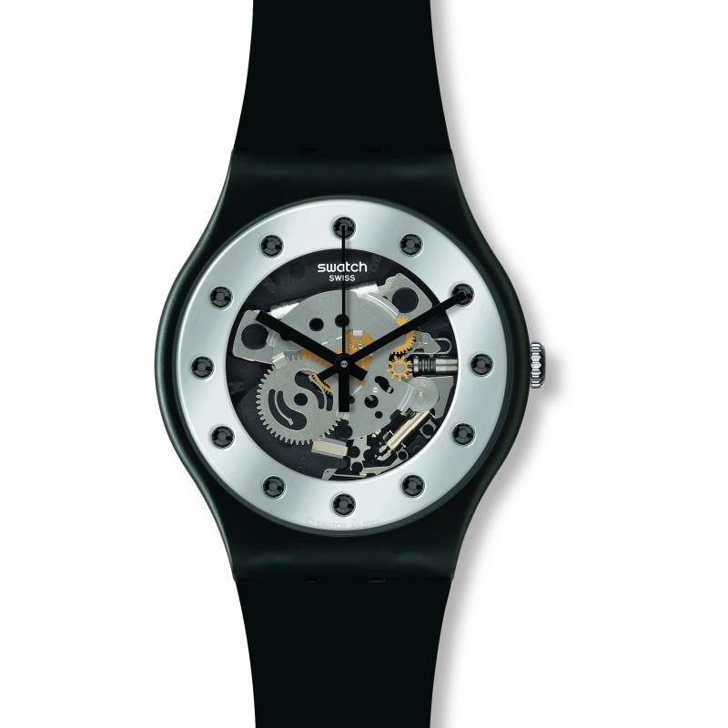 Mens Swatch Silver Glam Watch SUOZ147
