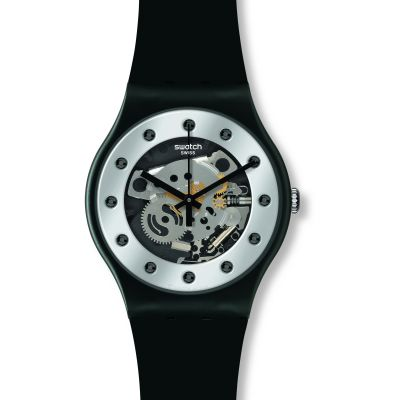 Swatch Originals New Gent Silver Glam Herrenuhr in Schwarz SUOZ147