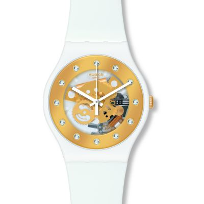 Swatch Originals New Gent Sunray Glam Unisexuhr in Weiß SUOZ148
