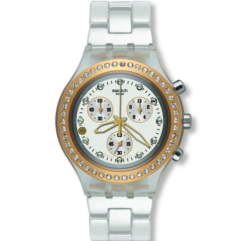 Ladies Swatch Full-Blooded Marvelous Yellow Chronograph Watch