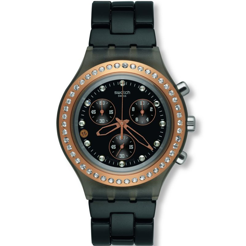Ladies Swatch Full-Blooded Stoneheart Black Chronograph Watch