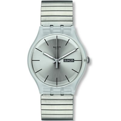 Swatch Originals New Gent Resolution Large Unisexuhr in Silber SUOK700A