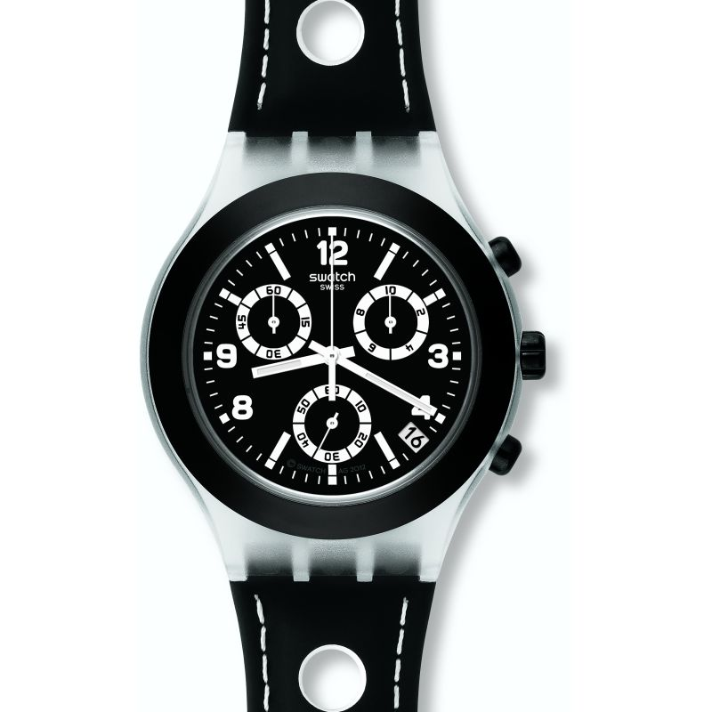 Mens Swatch Black Cup Chronograph Watch