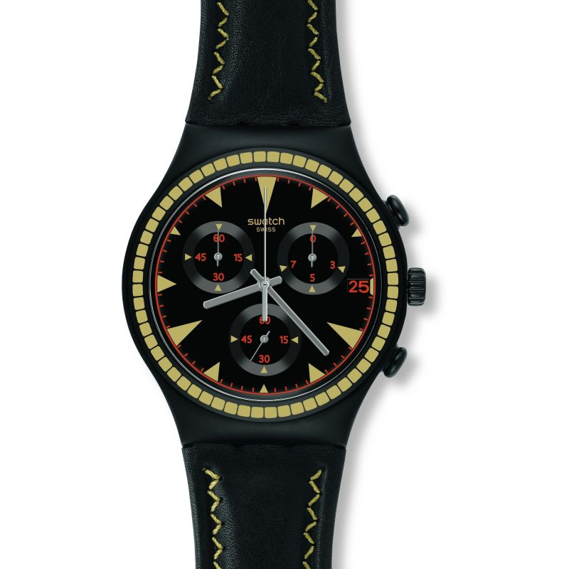 Mens Swatch Black Species Chronograph Watch