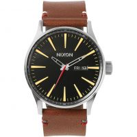 Mens Nixon The Sentry Leather Watch A105-019