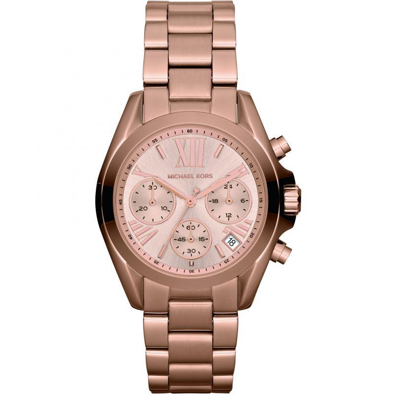 Image of            Ladies Michael Kors Bradshaw Mini Chronograph Watch