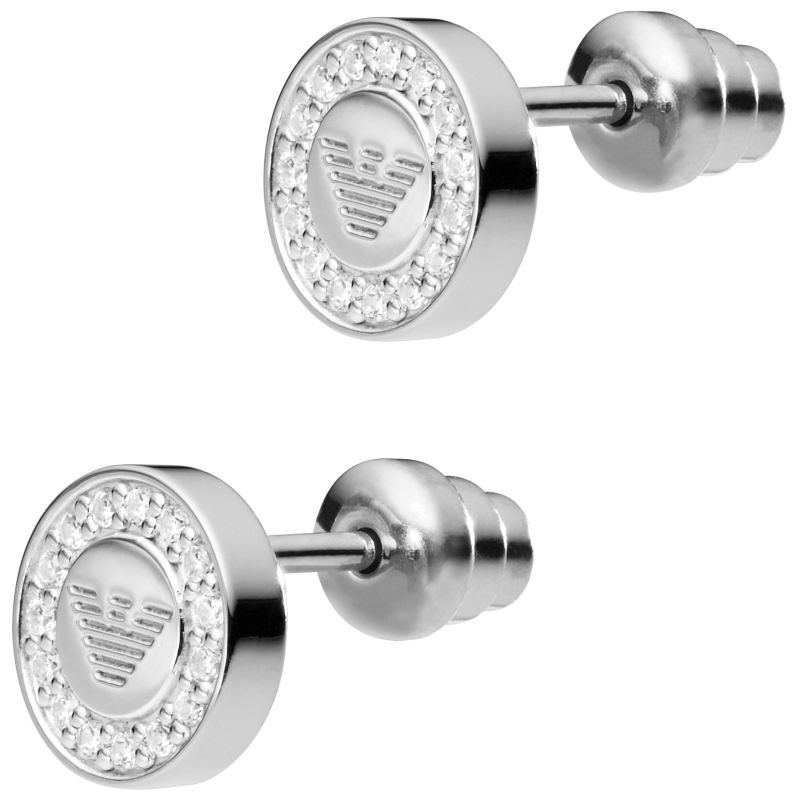 Ladies Emporio Armani Sterling Silver Signature Earrings EG3053040
