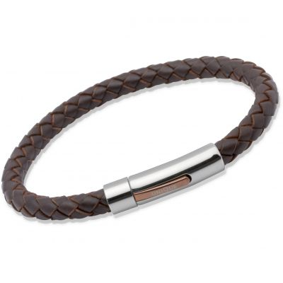 Unique Unisex Dark Brown Leather Bracelet Roestvrijstaal B170DB/21CM