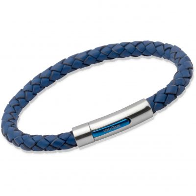 Unique Unisex Blue Leather Bracelet Rostfritt stål B170BLUE/21CM