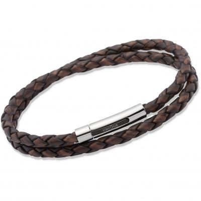 Unique Unisex Antique Dark Brown Leather Bracelet Rostfritt stål B171ADB/21CM
