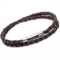 Unique & Co Stainless Steel Antique Dark Brown Leather Bracelet B171ADB/21CM