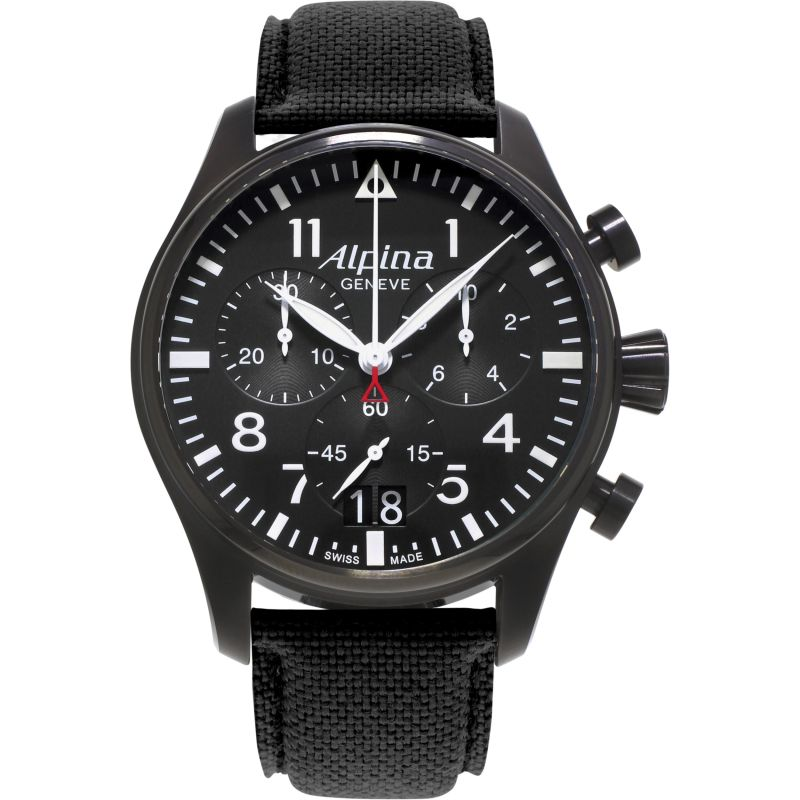 Mens Alpina Startimer Pilot Chronograph Watch