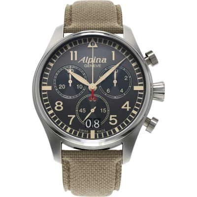 Mens Alpina Startimer Pilot Chronograph Watch AL-372BGR4S6