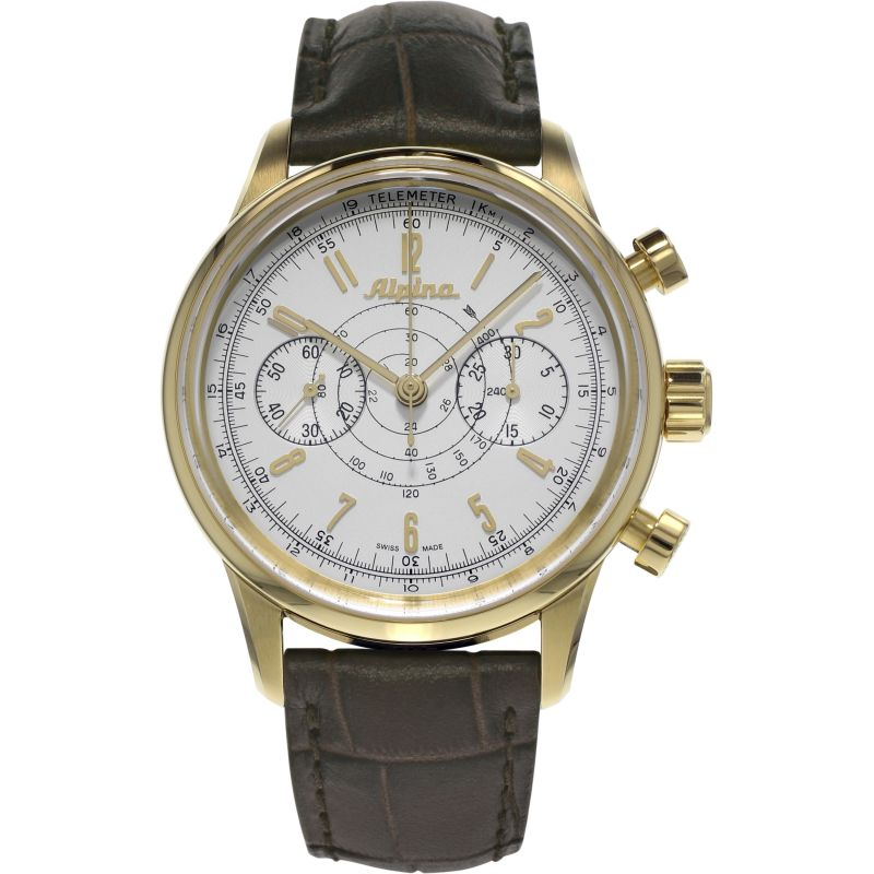 Mens Alpina Pilot Heritage 130 Automatic Chronograph Watch
