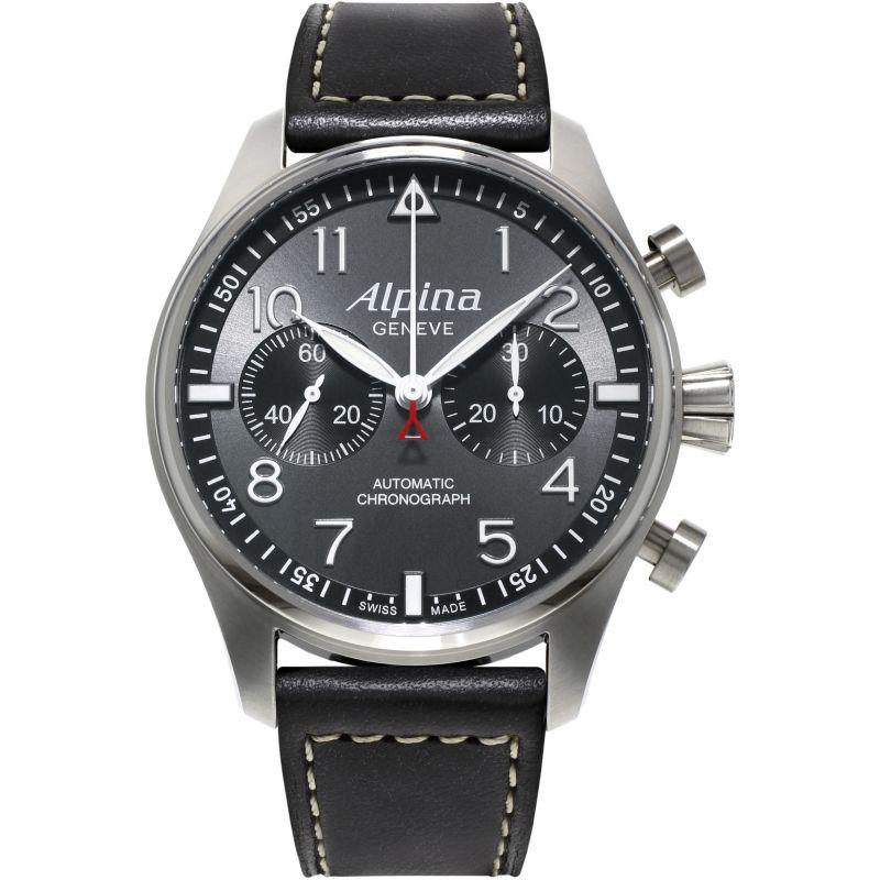 Mens Alpina Startimer Pilot Automatic Chronograph Watch
