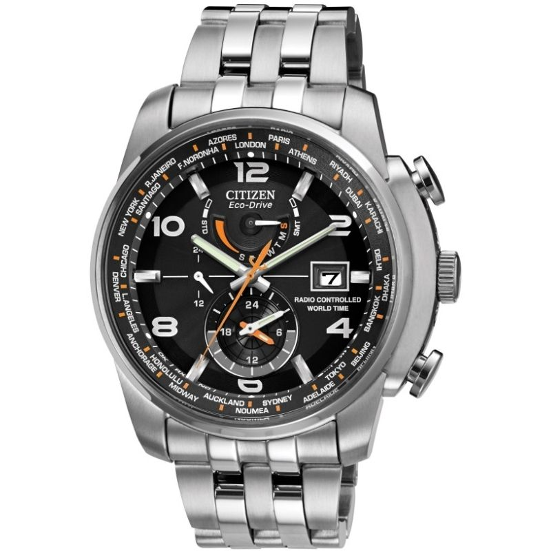 Mens Citizen Eco-drive World Time A.T Radio Controlled Alarm Stainless Steel Watch AT9010-52E